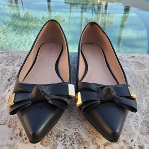 Topshop Apple Pointy Toe Bows Ballet Flats 9